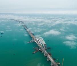Владимир Путин посетил строящийся Крымский мост