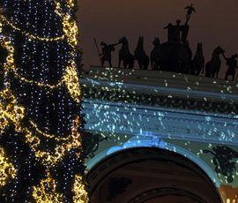 На Дворцовой площади установили главную елку Петербурга