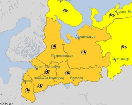 В Петербурге и Ленобласти ввели оранжевый уровень погодной опасности