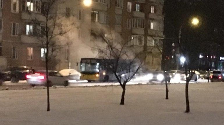 В Петербурге на улице Веденеева дымится маршрутка