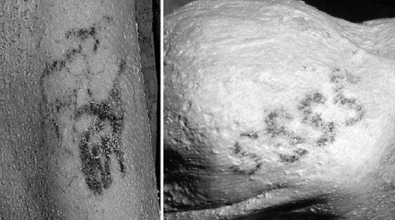 Археологами, при исследовании двух  древнеегипетских мумий возрастом в 5 тыс лет, обнаружили на их коже рисунки овец, быков и другие сложные татуировки.