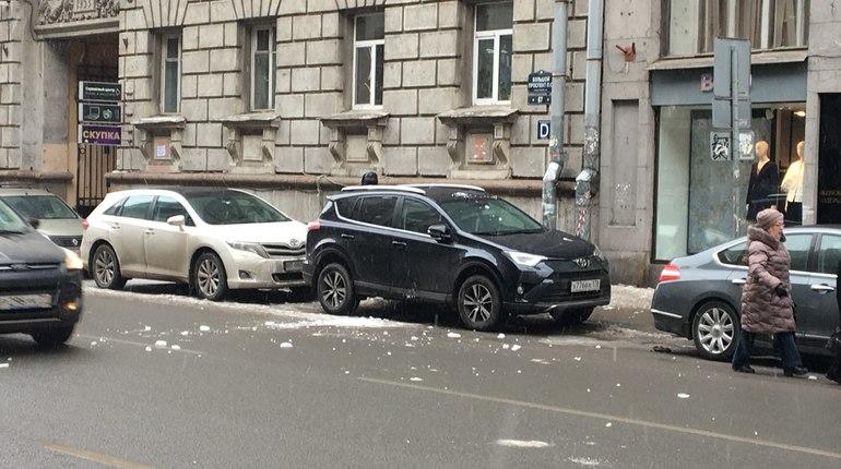 ВПетроградском районе глыба льда упала наголову женщине