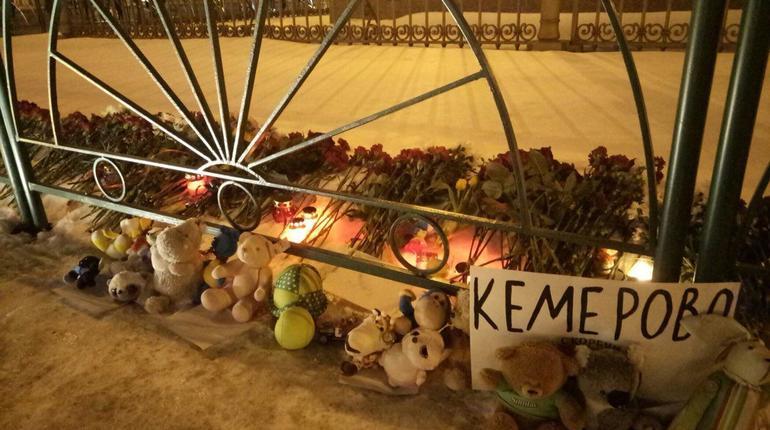 Петербуржцы несут цветы и игрушки на Дворцовую площадь в память о погибших в Кемерово