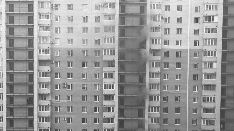 Пожар в северной столице: жильцов высотки МЧС эвакуирует полестницам