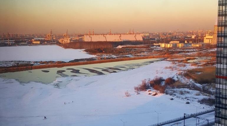 Река наюге Петербурга неожиданно позеленела— свидетели