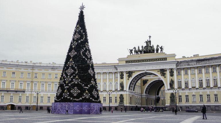 Большеохтинский мост в Петербурге к Новому году превратится в звездный небосвод, а в Салтыковском сквере появится зимний фонтан.