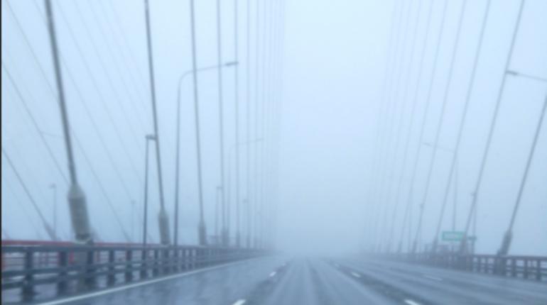 КАД заволокло густым туманом