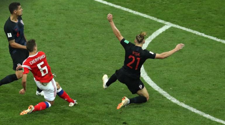 Денис Черышев забил первый гол в матче Россия-Хорватия