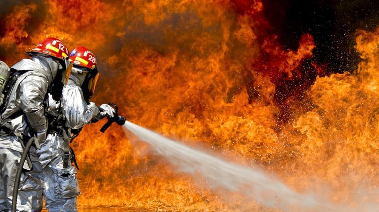 Восемь пожарных заливали садовый дом в Ленобласти