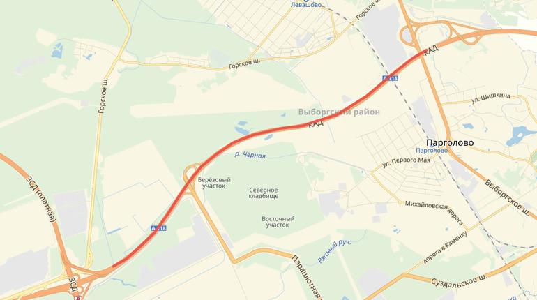 Внешнее кольцо КАД от Выборгского шоссе до ЗСД закроют до осени