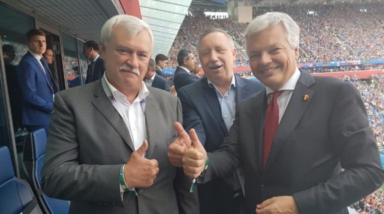 Глава МИД Бельгии смотрит футбол в Петербурге вместе с Полтавченко