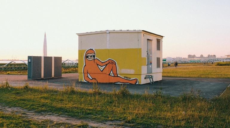 Граффити с ленивцем появилось неподалеку от станции петербургского метрополитена