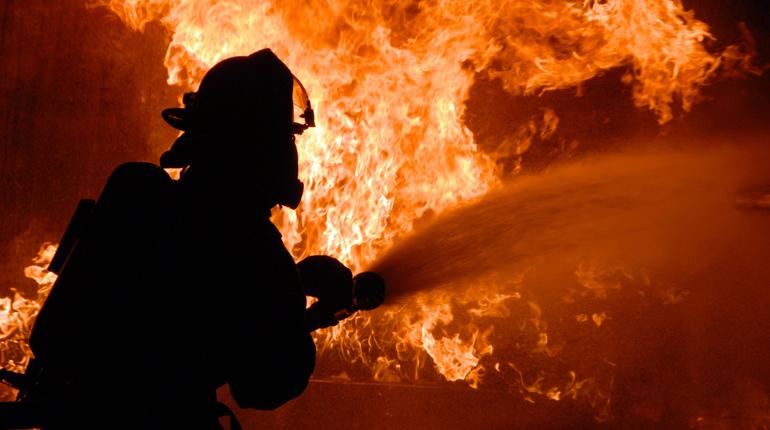 В Петергофе 12 пожарных тушили дощатый гараж