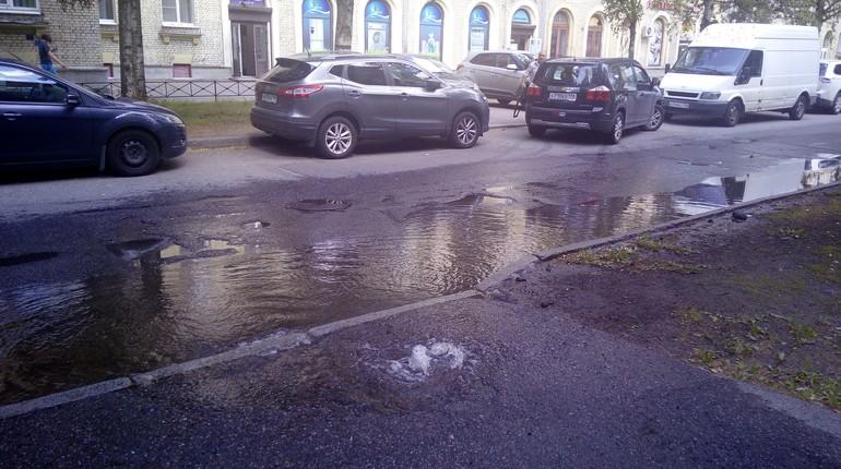 В Приморском районе Санкт-Петербурга прорвало пожарный гидрант.