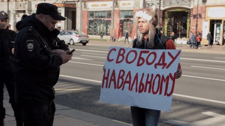 В Петербурге полицейские отпустили сторонника оппозиционера Алексея Навального, который стал одним из участников одиночных пикетов в центре Северной столицы.