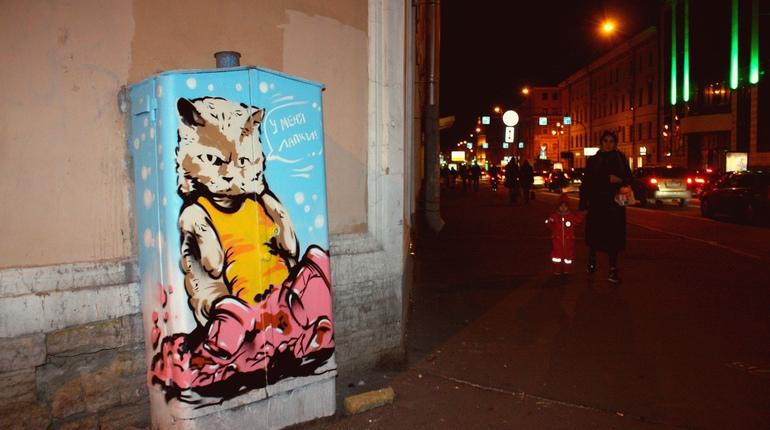 На одном из трансформаторных шкафов Центрального района Петербурга появился нарисованный кот. Средства на необычное украшение шкафа собрали активисты района всего за несколько дней. Информация об этом появилась в группе