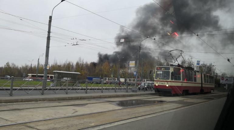 В Невском районе Петербурга на Дальневосточном проспекте, 7 загорелись авторемонтные мастерские, расположенные в контейнерах.
