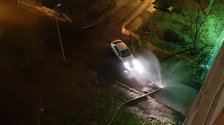Один из дворов по проспекту Маршала Жукова в Петербурге затопило холодной водой. По словам местных жителей, шланг