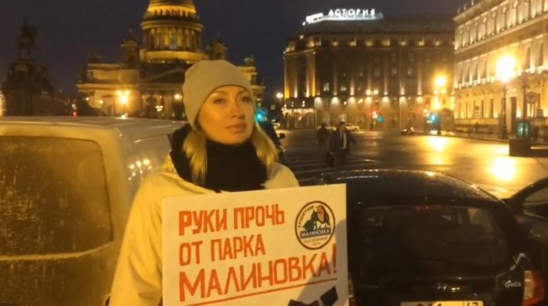 В Петербурге двое местных жительниц решили встретить депутатов с плакатами. Каждая участница пикета требует своего – одна призывает защитить парк Малиновка, а другая – отменить пенсионную реформу.