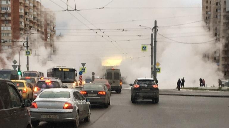 Аварийные службы приступили к локализации аварии на теплосетях на пересечении проспекта Ветеранов и проспекта Маршала Жукова в Петербурге.