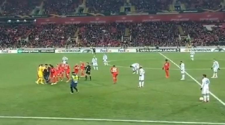 Во время матча футбольной Лиги Европы между