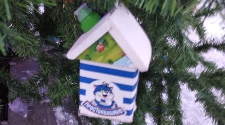 Жители Выборгского района Петербурга нарядили новогоднее дерево в мусор из пластика. Фото елки в необычных игрушках выложили в группе «Парнас сити» в соцсети «ВКонтакте».